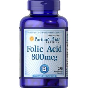 Ácido fólico, 800 mcg - 250 cap.