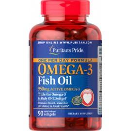 Omega-3 Aceite de pescado, uno por día, 1360 mg softgels