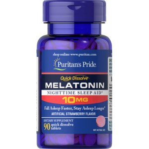 Melatonina 10 mg. Absorción rápida. Sabor fresa. 90 cap.